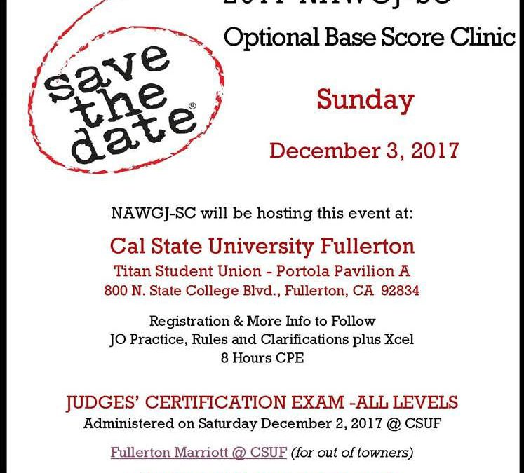 Save the Date for the Optional Base score Clinic