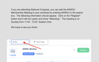 Add NAWGJ Membership Meeting to Your Congress Schedule